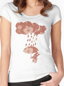 Song of the Rain (Floral pattern) Women's Fitted Scoop T-Shirt