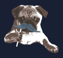 Funny Mustache Pug One Piece - Short Sleeve