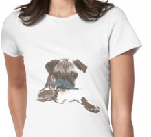 Funny Mustache Pug Womens Fitted T-Shirt