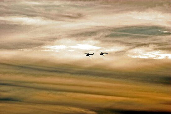 Helitankers At Sunset  by EOS20