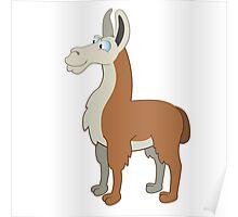 Friendly cartoon lama Poster