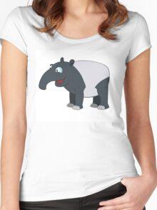 Happy cartoon coati smiling Women's Fitted Scoop T-Shirt
