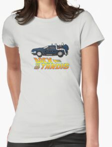 Nerd things - tardis delorean mash up Womens Fitted T-Shirt