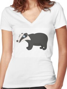 Friendly cartoon badger Women's Fitted V-Neck T-Shirt
