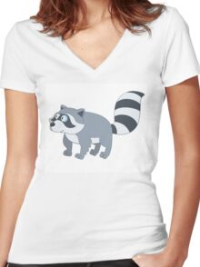 Adorable cartoon raccoon Women's Fitted V-Neck T-Shirt