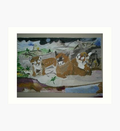 mother lion and cubs Art Print