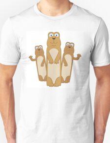 Three cute cartoon meerkats Unisex T-Shirt