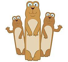 Three cute cartoon meerkats Photographic Print