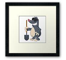 Funny cartoon mole Framed Print