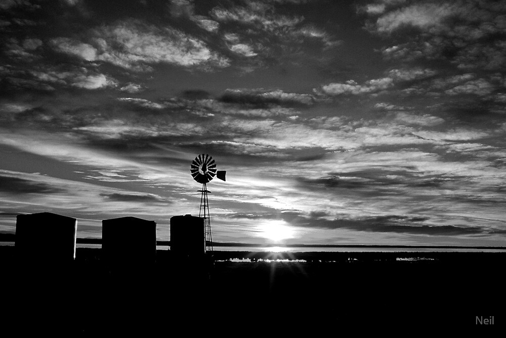 Windmill Sunrise - Black & White by Neil