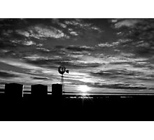 Windmill Sunrise - Black & White Photographic Print