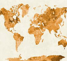 World map in watercolor orange by paulrommer