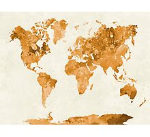 World map in watercolor orange Photographic Print