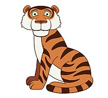 Cute funny cartoon tiger Photographic Print