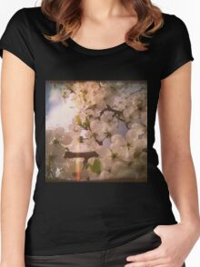 White Plum Blossoms 4 Women's Fitted Scoop T-Shirt