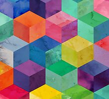 Watercolor 3D cubes by tracingtrace