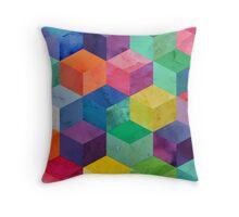 Watercolor 3D cubes Throw Pillow