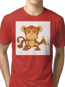 Funny cartoon monkey Tri-blend T-Shirt