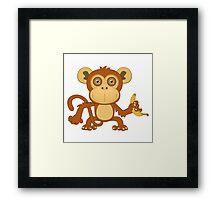 Funny cartoon monkey Framed Print