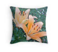 Orange Pixies Throw Pillow