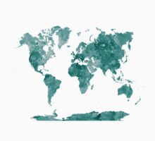 World map in watercolor green Kids Clothes