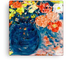 Romance Flowers in Blue Vase Designer Art Decor & Gifts Canvas Print