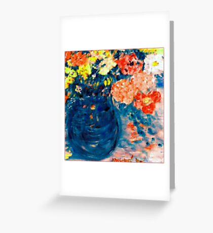 Romance Flowers in Blue Vase Designer Art Decor & Gifts Greeting Card