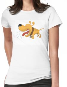 Barking funny cartoon dog Womens Fitted T-Shirt