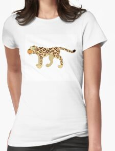 Funny cartoon cheetah Womens Fitted T-Shirt