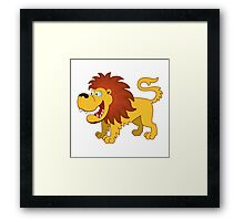 Funny cartoon lion Framed Print