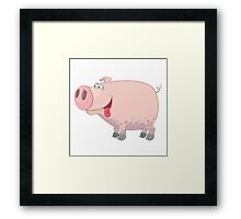 Funny cartoon pig Framed Print