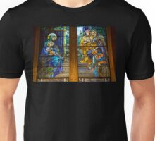 USA. Connecticut. New Haven. Trinity Church. Tiffany stained glass window. Unisex T-Shirt