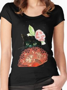 The Fan Cat Art White Background Women's Fitted Scoop T-Shirt