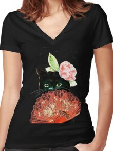 The Fan Cat Art White Background Women's Fitted V-Neck T-Shirt