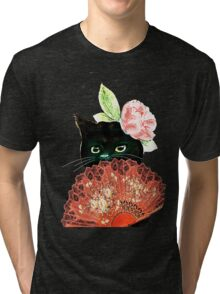 The Fan Cat Art White Background Tri-blend T-Shirt