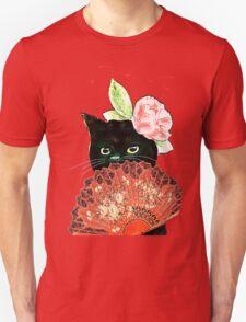 The Fan Cat Art White Background Unisex T-Shirt