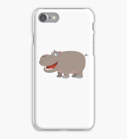 Cute funny cartoon hippo iPhone Case/Skin