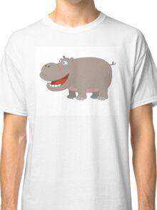 Cute funny cartoon hippo Classic T-Shirt