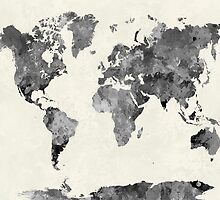 World map in watercolor gray by paulrommer