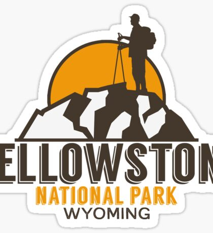 HIKING YELLOWSTONE NATIONAL PARK WYOMING HIKER HIKE MOUNTAINS Sticker
