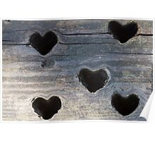 wooden background whit heart Poster
