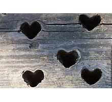 wooden background whit heart Photographic Print