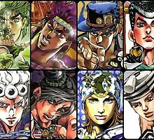Jojo's Bizarre Adventure - The 8 Jojos by FraXx