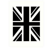 BRITISH, UNION JACK FLAG, UK, UNITED KINGDOM IN BLACK Art Print
