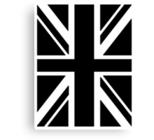 BRITISH, UNION JACK FLAG, UK, UNITED KINGDOM IN BLACK Canvas Print