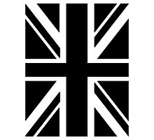 BRITISH, UNION JACK FLAG, UK, UNITED KINGDOM IN BLACK Photographic Print