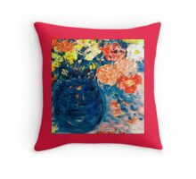 Romance Flowers in Blue Vase Designer Art Decor & Gifts Throw Pillow