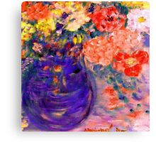 Romance Flowers in Purple Vase Artist Decor & Gifts Canvas Print