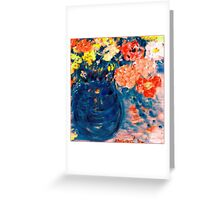 Romance Flowers in Blue Vase Artist Decor & Gifts Greeting Card