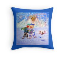 Skaters in Love Decor & Gift by Marie-Jose Pappas Blue Throw Pillow
